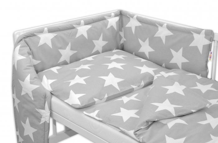 3-dílná sada do postýlky - mantinel s povlečením Baby Nellys ® - BIG STARS - šedé