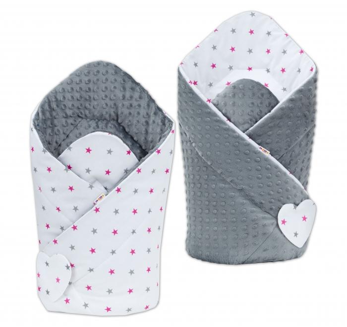 Oboustranná zavinovačka MINKY BABY - Hvězdičky růžové a šedé/ tm. šedá