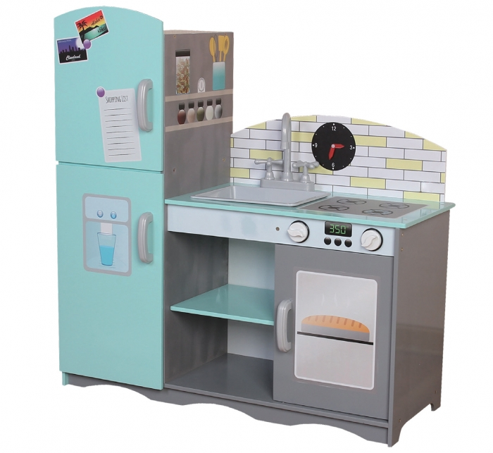 Dřevěná kuchyňka ECO TOYS - mátová/šedá