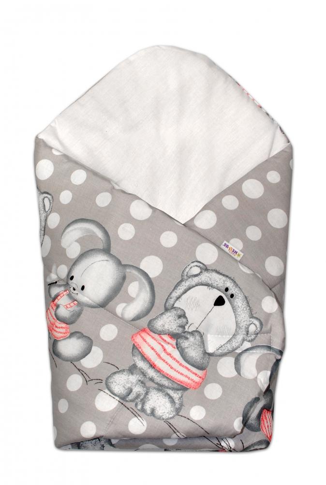 Novorozenecká zavinovačka Medvídek s králíčkem Bubble, 75x75 cm - šedá