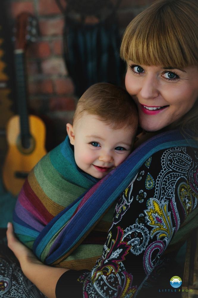 Little FROG Tkaný šátek na nošení dětí - Dark Spectrolite