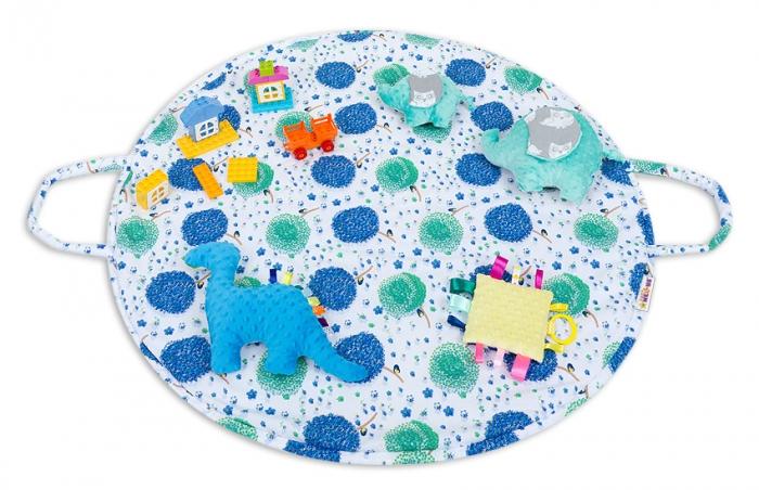 Hrací kulatá podložka, taška 2v1 - Pampelišky modré,žlutá