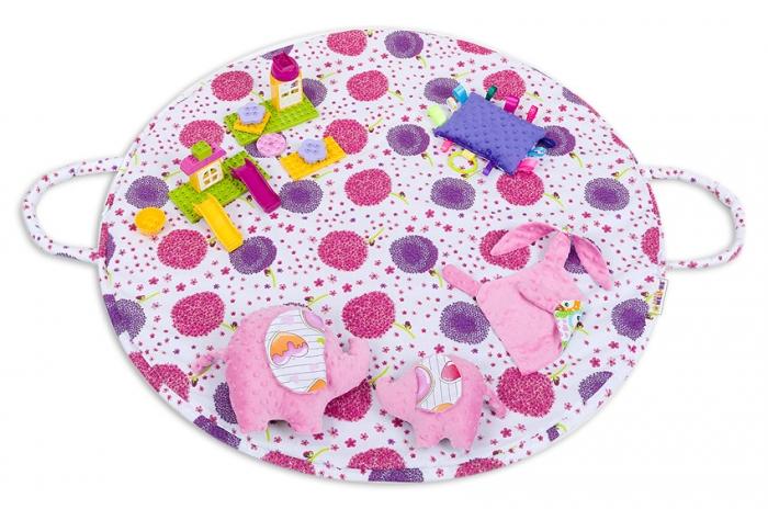 Hrací kulatá podložka, taška 2v1 - Pampelišky růžové,malina