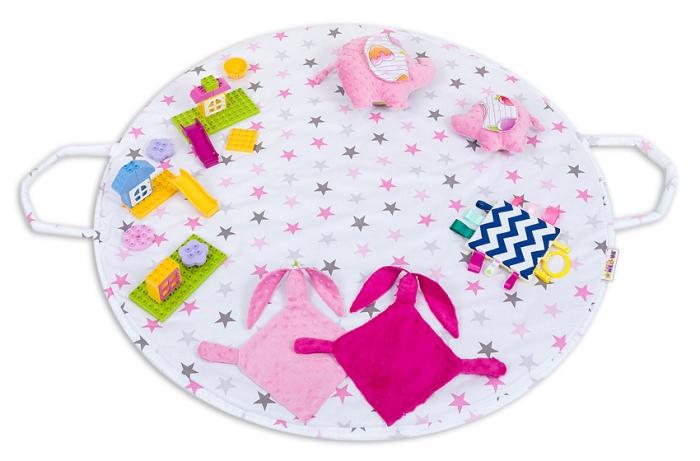 Hrací kulatá podložka, taška 2v1 - Hvězdičky růžové, šedé,malina
