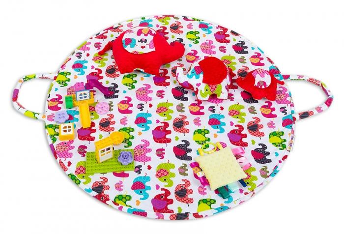 Hrací kulatá podložka, taška 2v1 - Sloni růžoví,růžová