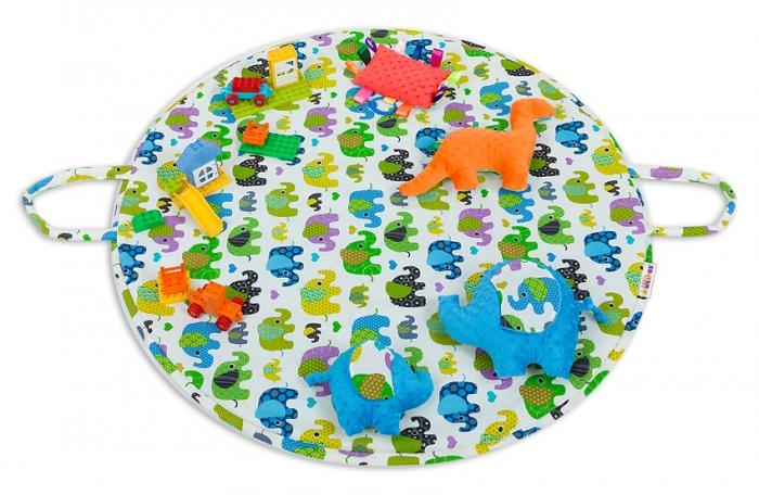 Hrací kulatá podložka, taška 2v1 - Sloni zelení, tyrkys