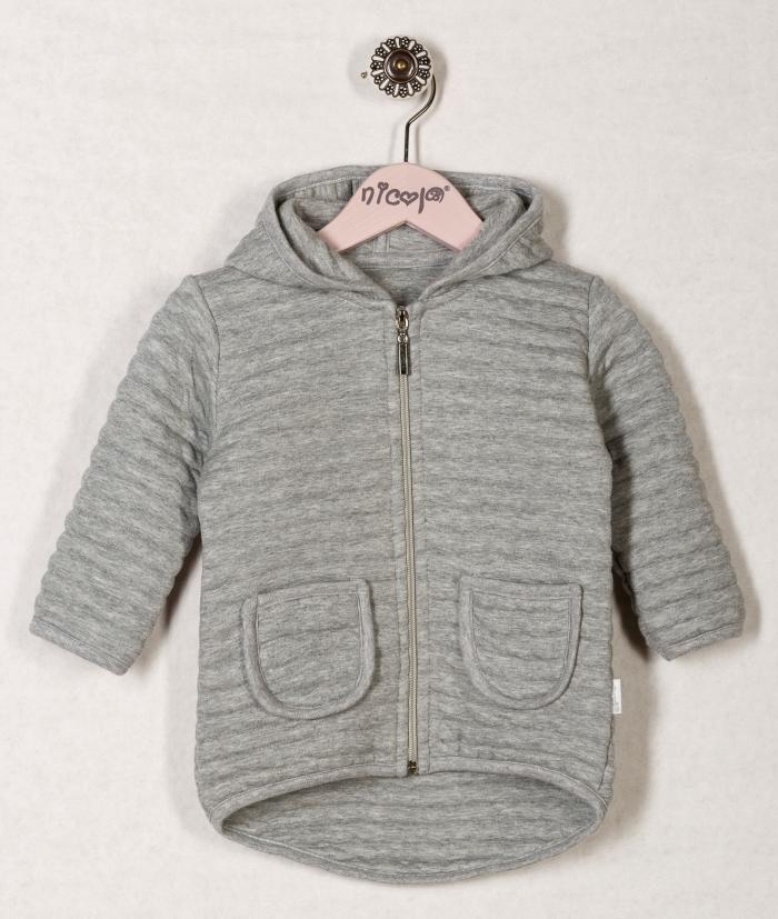 Kabátek/mikinka VIŠNĚ s kapucí - šedá, roz. 74