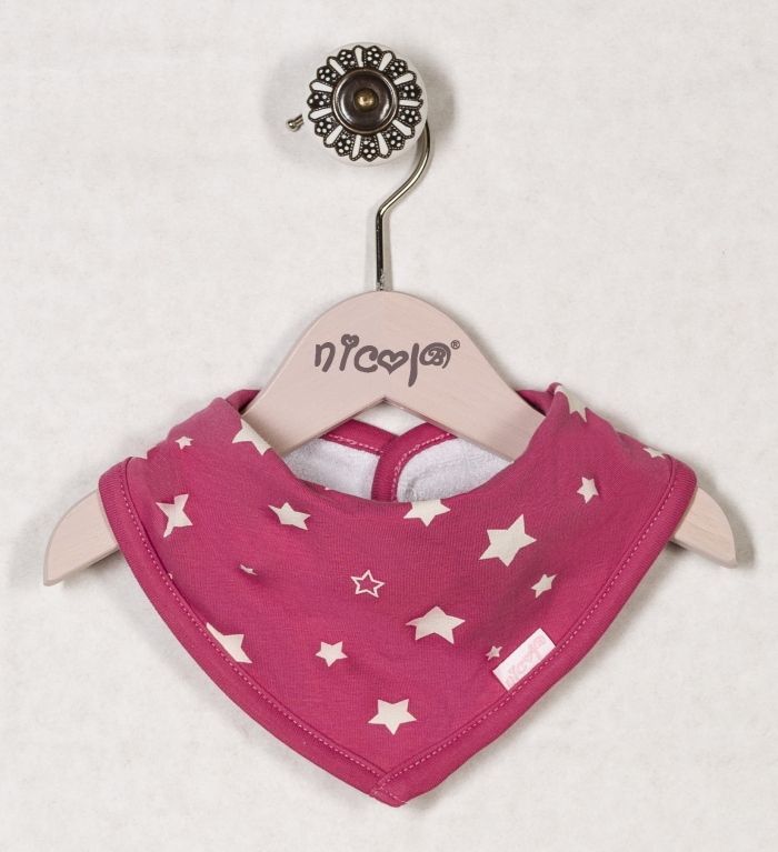 Dětský šátek na krk HVĚZDIČKY PROUŽEK - růžová