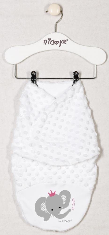 Zavinovací deka, zavinovačka MALÝ SLONÍK minky - bílá