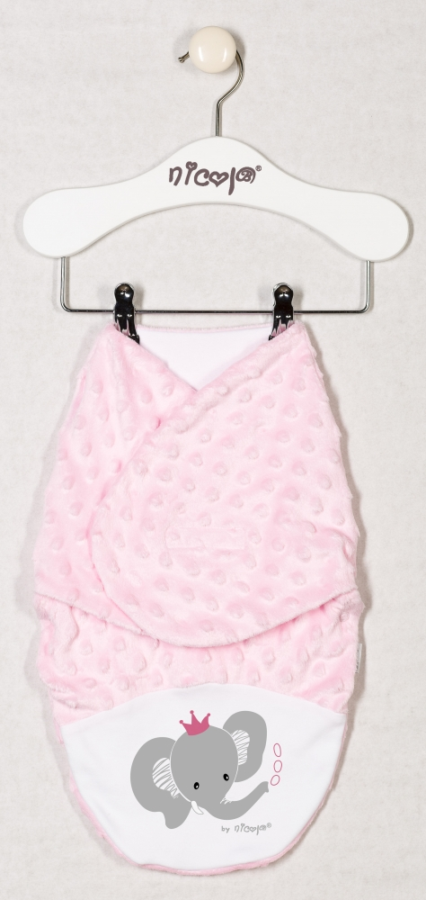 Zavinovací deka, zavinovačka MALÝ SLONÍK minky - růžová