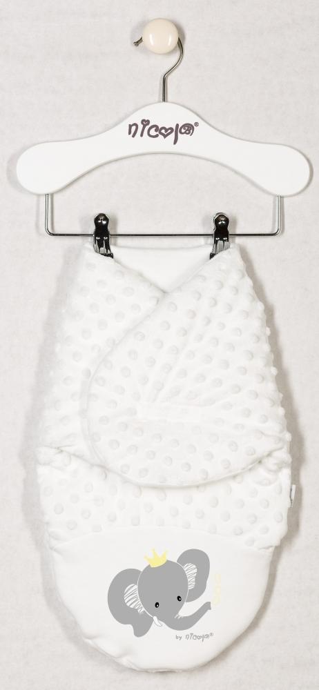 Oteplená zavinovací deka, zavinovačka MALÝ SLONÍK minky - smetanová