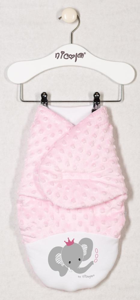 Oteplená zavinovací deka, zavinovačka MALÝ SLONÍK minky - růžová