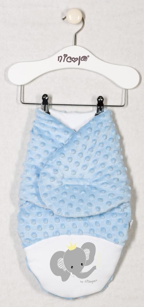 Oteplená zavinovací deka, zavinovačka MALÝ SLONÍK minky - modrá, roz. 56/62