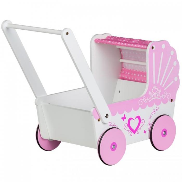 Dřevěný kočárek pro panenky SRDCE - růžový