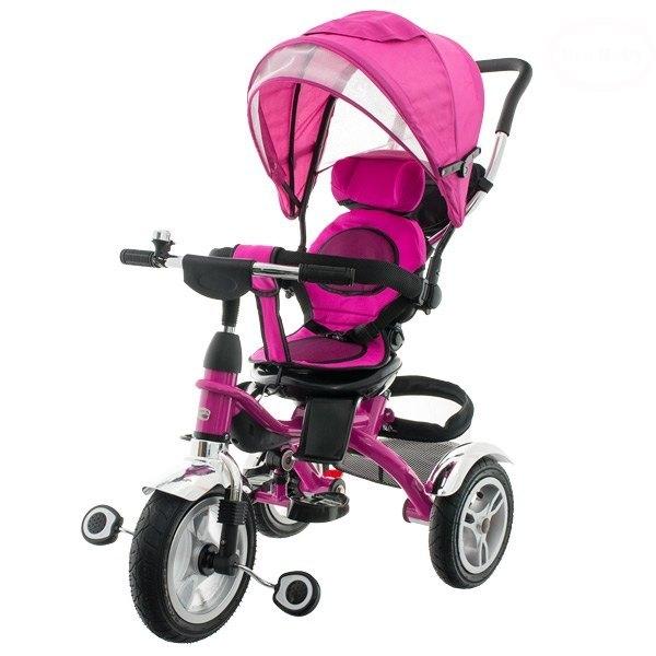 Dětská tříkolka s vodící tyčí - růžová
