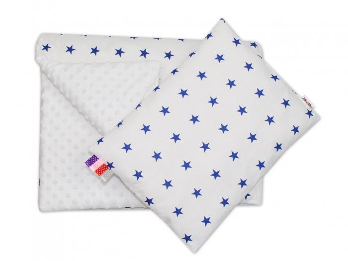 Sada do kočárku 2D - MINKY BABY - Hvězdičky v bílé/bílá