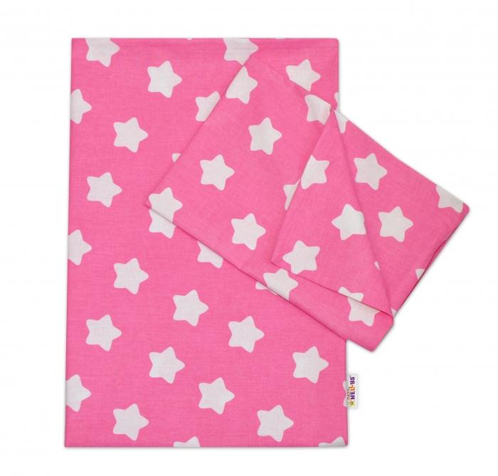 Bavlněné povlečení 140 x 200/70x80 - Sweet Stars - růžová