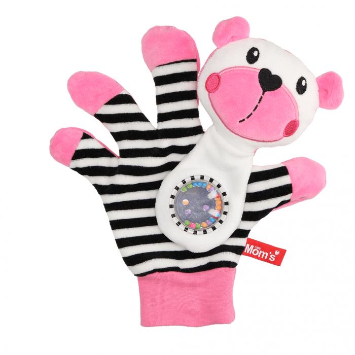 Edukační hračka maňásek s chrastítkem - Medvídek - zrcátko -růžový