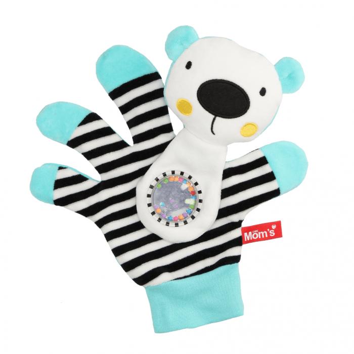 Edukační hračka maňásek s chrastítkem - Medvídek - zrcátko - tyrkysový