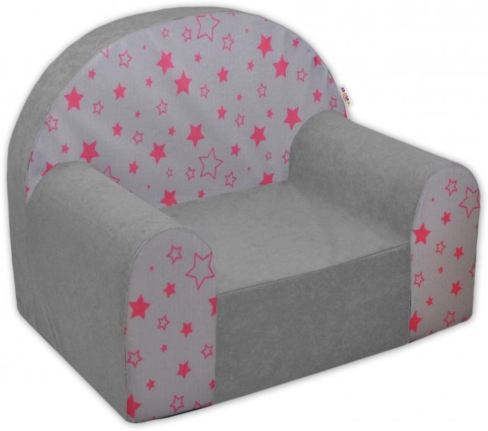 Dětské křesílko/pohovečka Nellys ® - Magic stars - šedé/růžové hvězdičky