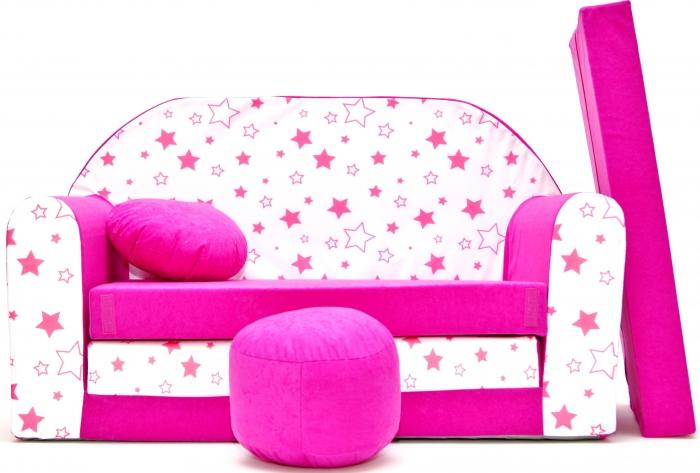 Rozkládací dětská pohovka Nellys ® 86R - Magic stars - růžové