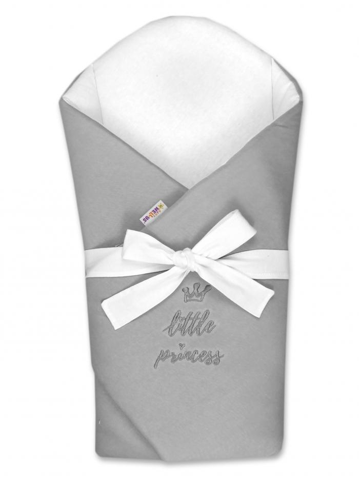 Novorozenecká zavinovačka s výztuží zad Little Princess - šedá
