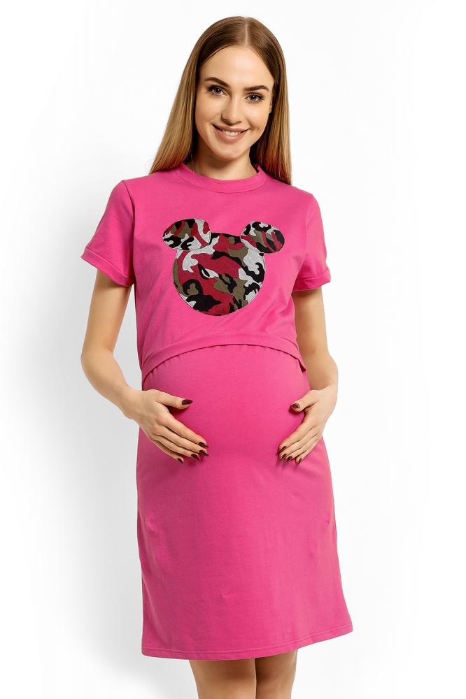 Těhotenská, kojící noční košile Minnie, XXL - růžová