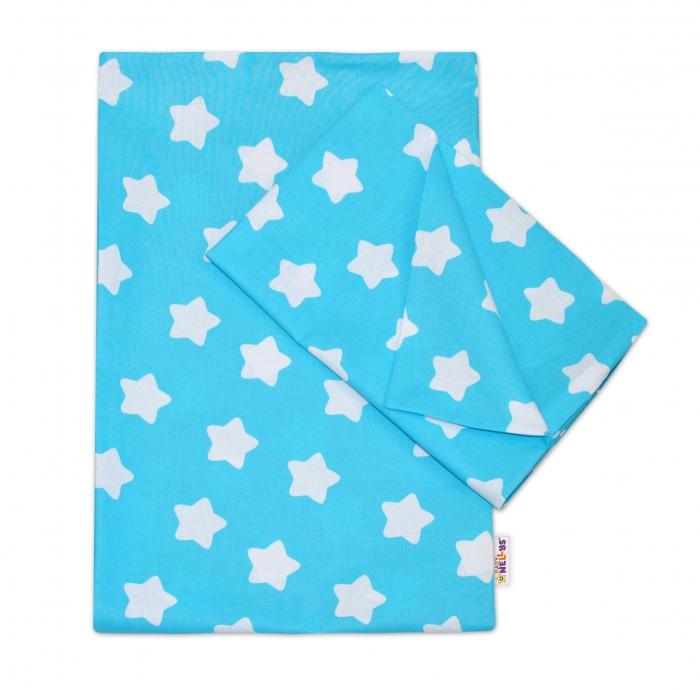 Bavlněné povlečení 140 x 200/70x90 - Sweet Stars - tyrkysová