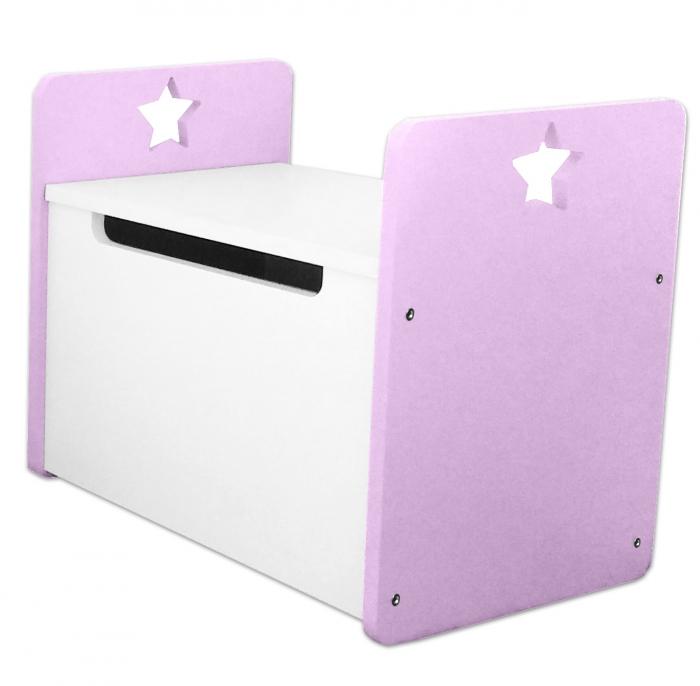 Box na hračky, truhla Star - růžová,bílá