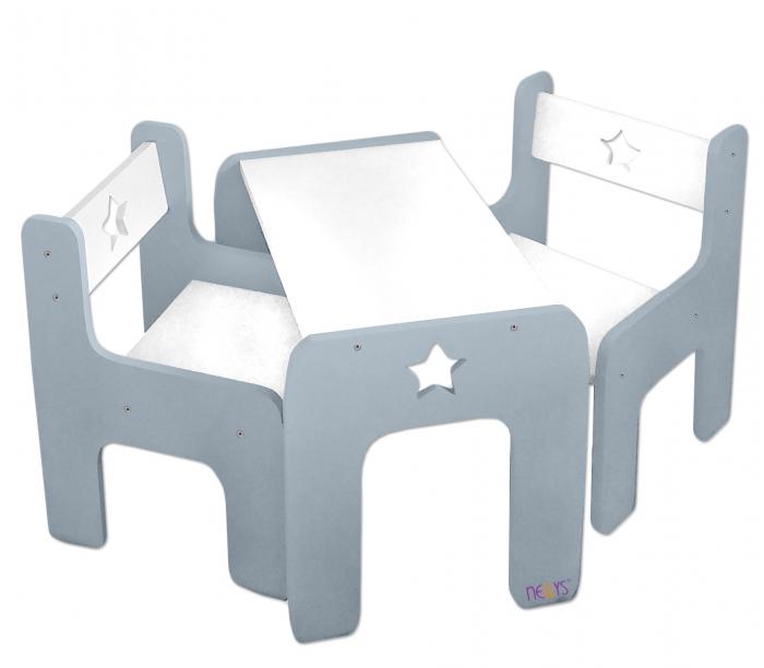 Sada nábytku Star - Stůl + 2 x židle - šedá s bílou
