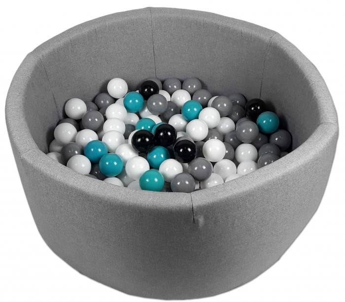Bazén pro děti 90x40cm + 200 balónků - šedý bazén, balonky dle výběru