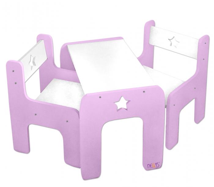 Sada nábytku Star - Stůl + 2 x židle - růžová s bílou