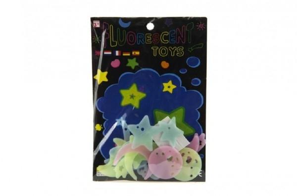 Hvězdy svítící ve tmě 4cm plast na kartě 13x19cm
