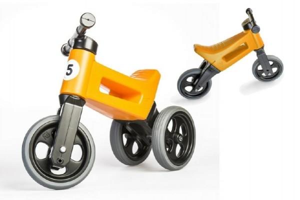 Odrážedlo oranžové FUNNY WHEELS NEW SPORT 2v1 výška sedadla nastavitelná 28/31cm nosn