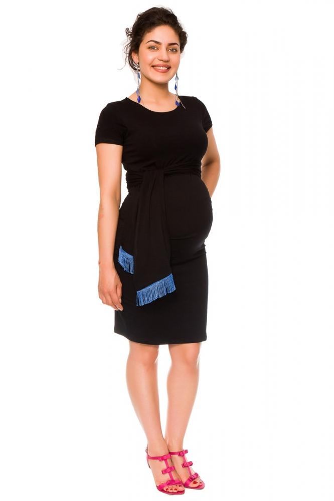 7ffd9c75b36 Těhotenské a kojící šaty Agnes - černé se stuhou