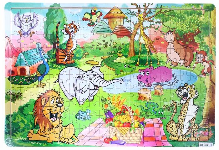Puzzle dřevěné zvířata ZOO
