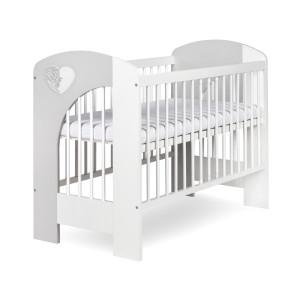 Dětská postýlka Nel srdíčko bílo/šedá - 120x60
