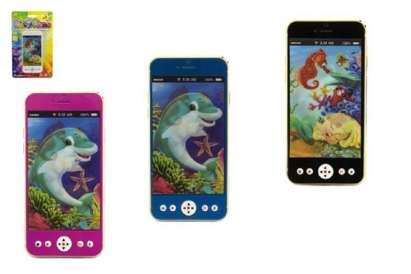 Mobil/telefon plast 13cm na baterie se světlem se zvukem asst na kartě