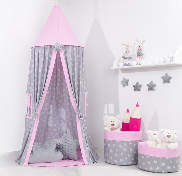 Stan pro děti s výbavou, závěsný stan - hvězdičky na šedém / růžový
