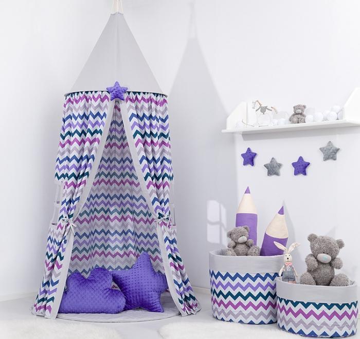 Stan pro děti s výbavou, závěsný stan - fialový cik cak / šedý