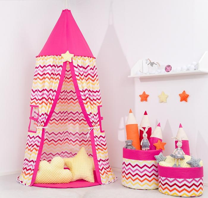 Stan pro děti s výbavou, závěsný stan - barevný cik cak / malina