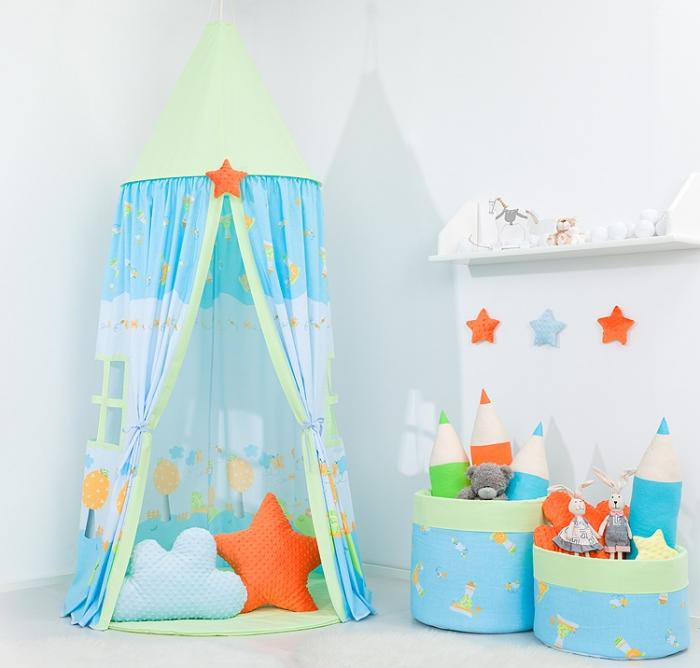 Stan pro děti, závěsný stan - šnek modrý / zelený