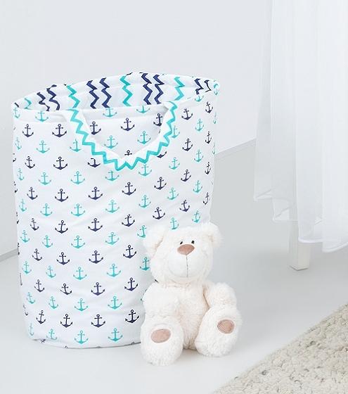 Box na hračky - oboustranný, kotvy / cik cak granatový
