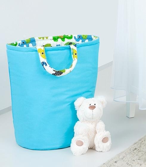 Box na hračky - oboustranný, modrá / zelený slon