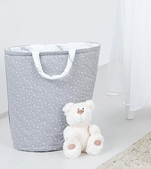 Box na hračky - oboustranný, hvězdičky bílé na šedém / šedé víly
