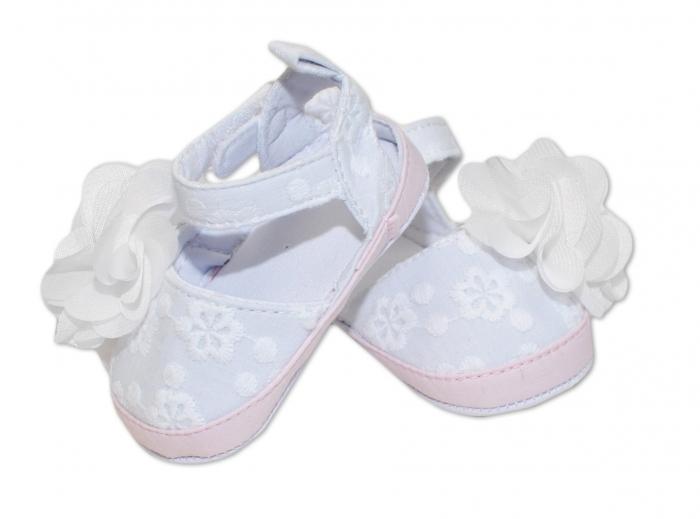 Capáčky, sandálky Flower - bílé