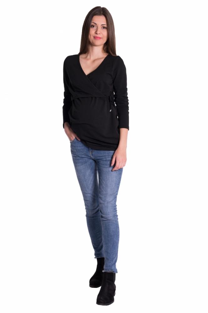 Zavinovací těhotenské triko/tunika - černá