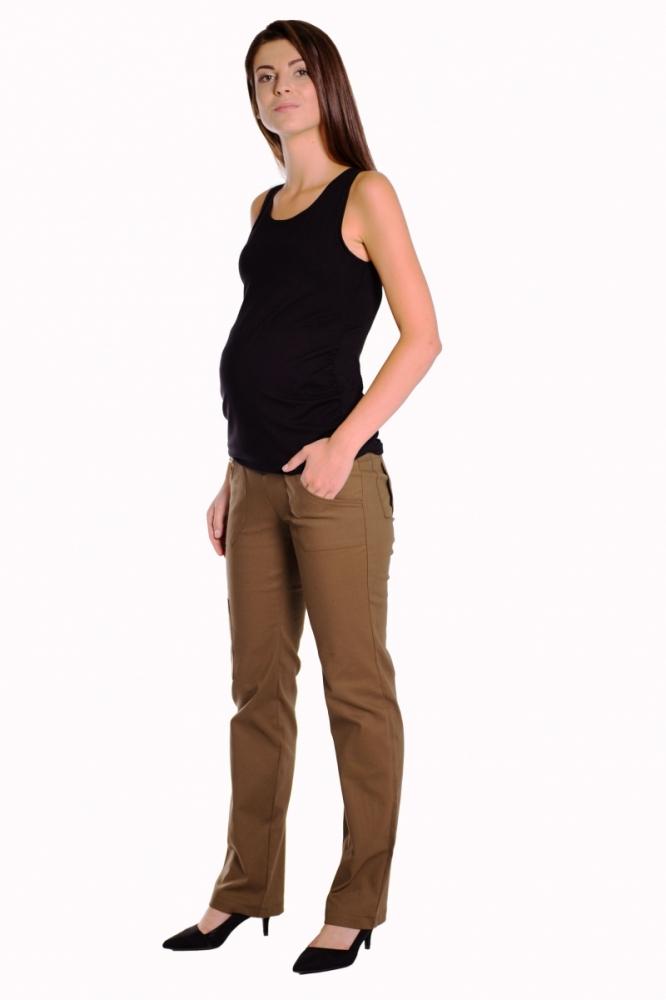Bavlněné, těhotenské kalhoty s kapsami - khaki, vel. XXXL