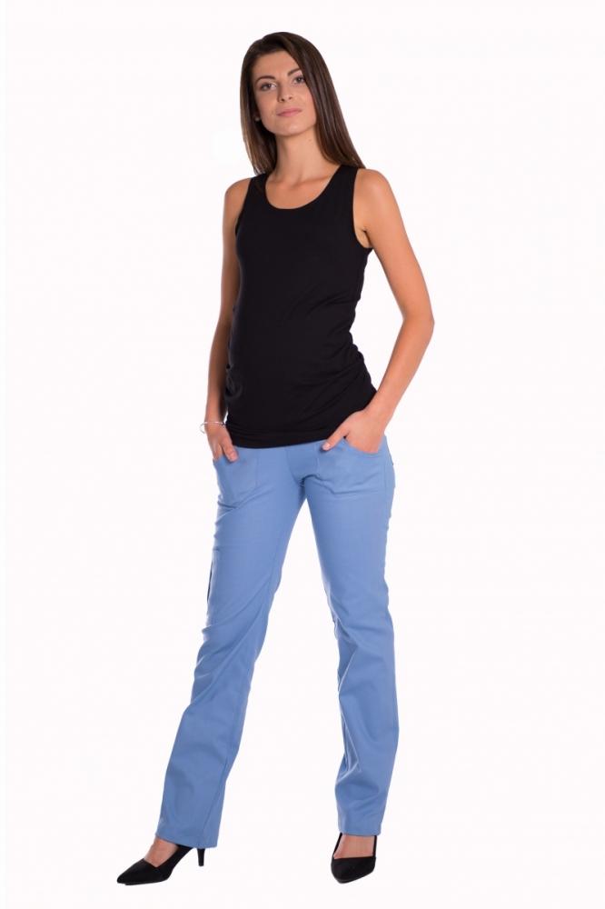 Bavlněné, těhotenské kalhoty s kapsami - sv. modré , vel. XXXL