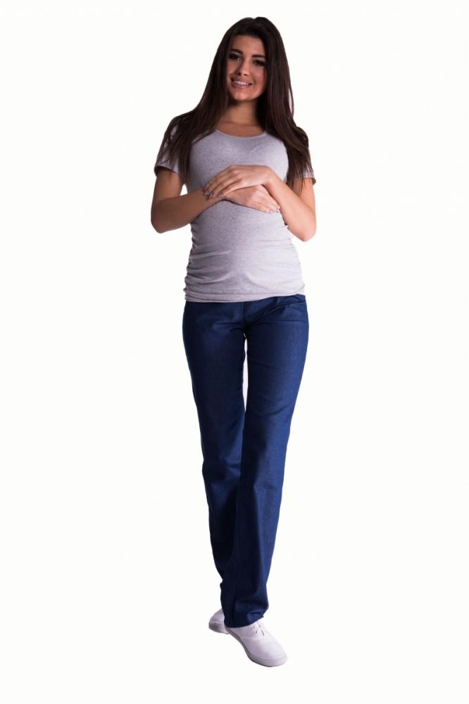 Bavlněné, těhotenské kalhoty s regulovatelným pásem - tm. modré, vel. XXXL